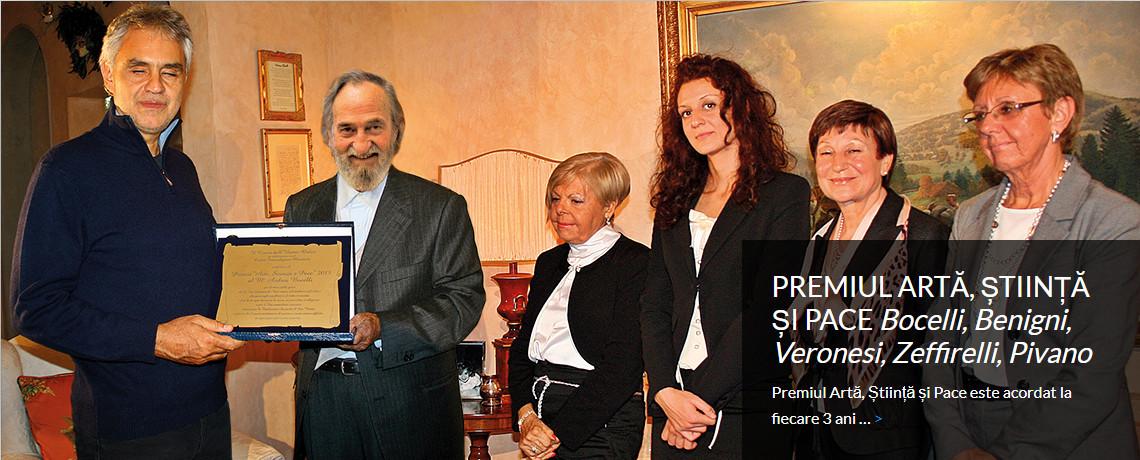 PREMIUL ARTĂ, ȘTIINȚĂ ȘI PACE <i>Bocelli, Benigni,<br>Veronesi, Zeffirelli, Pivano</i>
